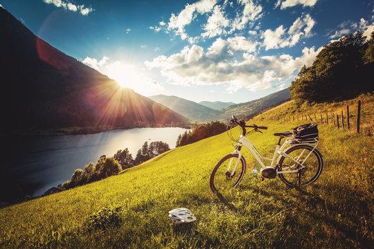 e-bike above a beautiful lake