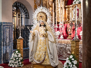 Interiors of santa maria la blanca church, Seville, Andalusia, Spain.