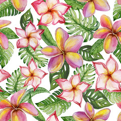 Exotic plumeria flowers and green monstera leaves on white background. Seamless tropical pattern in vivid colors. Watercolor painting. Hand painted floral illustration.