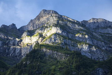 Morning in the mountains. Mountain peaks . Swiss Alps. Switzerland.