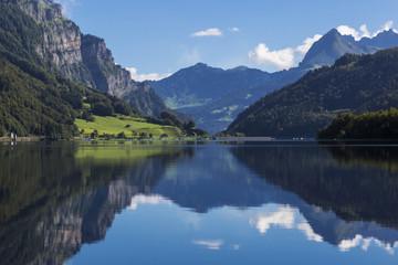 Mountain lake Klontalersee. Glarus Canton.  Switzerland.