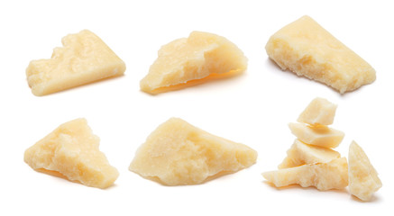 Set of Parmesan cheese pieces on white