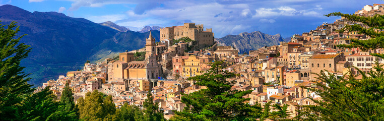 Beautiful mountain village Caccamo in Sicily, Italy