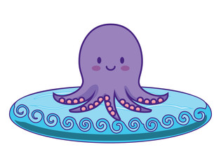 cute octopus icon over white background, colorful design. vector illustration