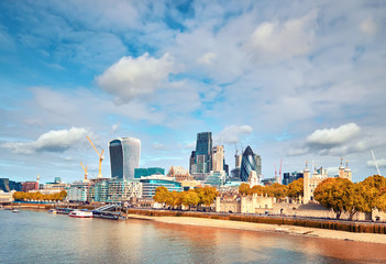 Wall Mural - London, South Bank Of The Thames on a bright day in Fall