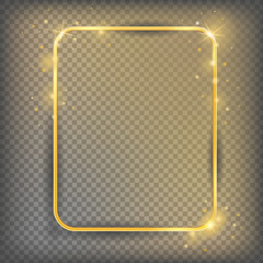The gold sparkling frame on a transparent background. Shiny vector illustration