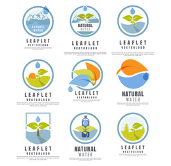 icon set, natural water. The concept of natural water, water from the mountains, vector illustration