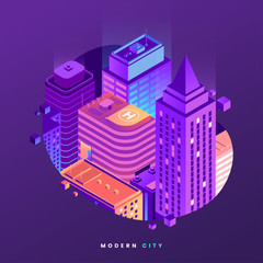 Fragment of night city isometric illustration. City buildings in gradient neon colors. Modern metropolis vector illustration. Business center with skyscrapers. Element for your design. Vector eps 10.