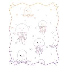 abstract frame with jellyfish and octopus pattern, vector illustration