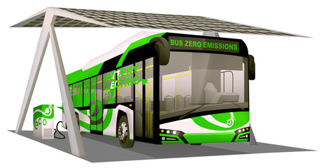 Electric bus loaded with pv roof