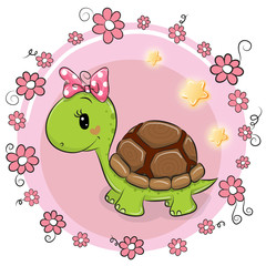 Turtle with flowers on a pink background