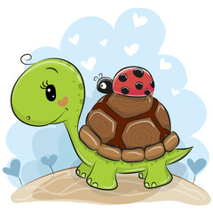 Cute Cartonn Turtle with ladybug