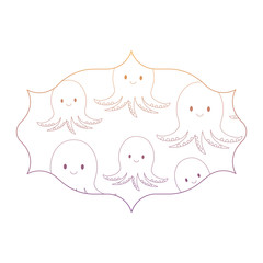 arabic frame with cute octopus pattern over white background, vector illustration