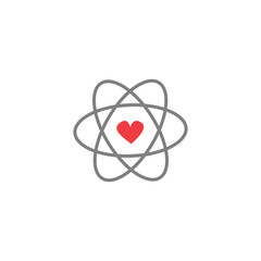 cute cartoon vector atom icon with red heart
