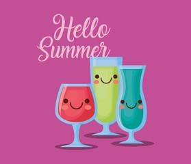 hello summer design with kawaii cocktails over purple background, colorful design. vector illustration