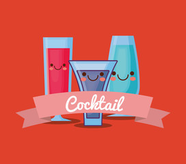 kawaii cocktails and decorative ribbon over red background, colorful design. vector illustration
