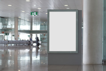 Blank billboard mock up in an airport