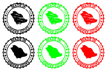 Made in Saudi Arabia - rubber stamp - vector, Saudi Arabia map pattern - black, green and red