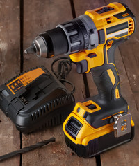 cordless drill, screwdriver, battery charger and drill