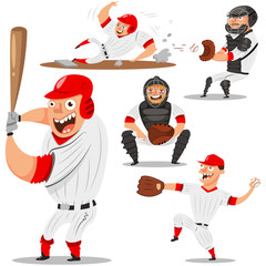 Baseball team players vector character set. Pitcher, catcher, batter, runner and shortstop. Illustration sportsmans in sportswear isolated on white background.