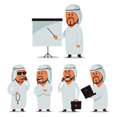 Arab man. Vector cartoon set of businessmen character. Male with a mobile phone and briefcase, laptop, chaplet and with blank chart board. Illustration for business isolated on a white background.