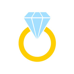 Engagement gold ring with a diamond. Decoration for greeting cards, prints for clothes, infographics. Vector illustration in flat style