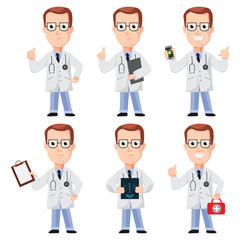 Doctor cartoon character design. Vector set flat people in presentation poses isolated on a white background.