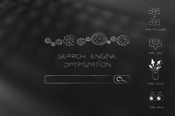 search engine optimization bar next to more followers views clicks and likes icons