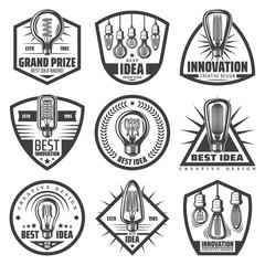 Vintage Monochrome Light Bulbs Labels Set
