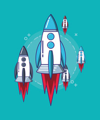 space rockets over turquoise background, colorful design. vector illustration
