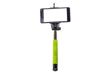 Monopod for selfie with smart phone isolated on white background
