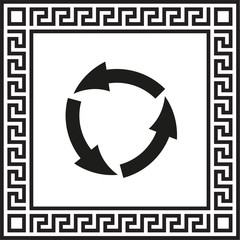 vector icon arrow circle in a frame with a Greek ornament