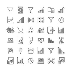 Set of data analytics thin line icons.