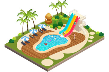 Isometric View of Swimming Travel Resort Illustration