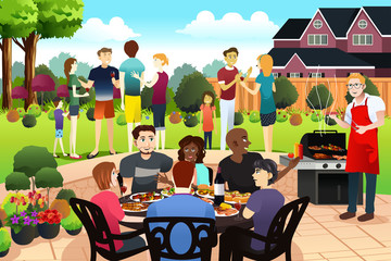 Friends and Family Gather Together Having BBQ Party in the Summer