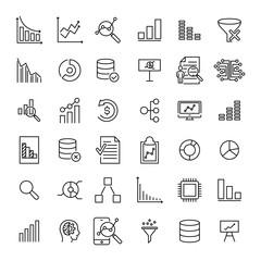 Premium set of analysis line icons.