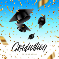 Graduation cap thrown up and golden foil confetti on a blue sky background. Vector illustration.