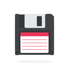 Black magnetic computer floppy disk in flat style