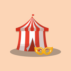 circus tent with carnival mask over orange background, colorful design. vector illustration