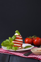 Salad with caprese. The Italian dinner. Mozzarella cheese, basil and tomatoes. Healthy food. Dark photo. Place for text