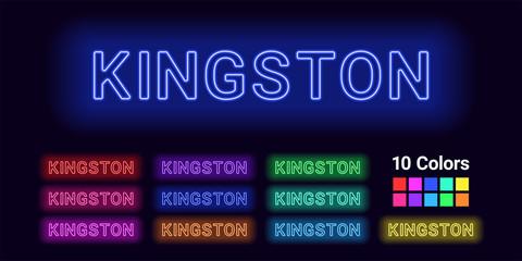 Neon name of Kingston city