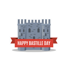 Bastille fortress with French tricolour flag for Bastille day.