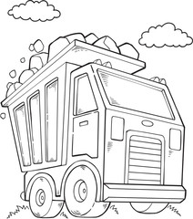 Stores à enrouleur Cartoon draw Cute Dump Truck Construction Vector Illustration Art
