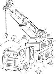 Spoed Foto op Canvas Cartoon draw Big Crane Construction Vector Illustration Art