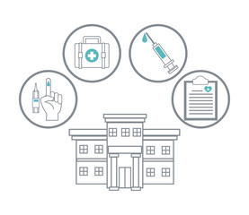 Medical symbols and supplies vector illustration graphic design