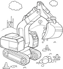 In de dag Cartoon draw Big Digger Construction Vehicle Vector Illustration Art