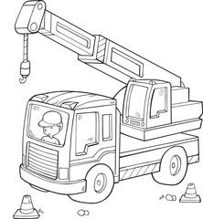 Wall Murals Cartoon draw Big Construction Truck Vector Illustration Art
