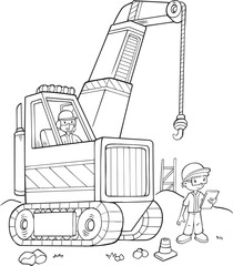 Tuinposter Cartoon draw Big Crane Construction Vector Illustration Art