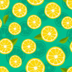 Lemon background. Fresh tropic fruit pattern on green background. Vector illustration