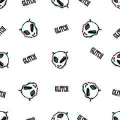 Seamless vector pattern with TV glitch effect. Alien texture.